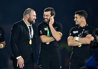 Tony Woodcock, Conrad Smith and Dan Carter of New Zealand have a laugh after the match. Rugby World Cup Final between New Zealand and Australia on October 31, 2015 at Twickenham Stadium in London, England. Photo by: Patrick Khachfe / Onside Images