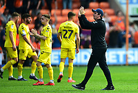 Fleetwood Town manager Joey Barton applauds the fans<br /> <br /> Photographer Richard Martin-Roberts/CameraSport<br /> <br /> The EFL Sky Bet League One - Blackpool v Fleetwood Town - Monday 22nd April 2019 - Bloomfield Road - Blackpool<br /> <br /> World Copyright © 2019 CameraSport. All rights reserved. 43 Linden Ave. Countesthorpe. Leicester. England. LE8 5PG - Tel: +44 (0) 116 277 4147 - admin@camerasport.com - www.camerasport.com