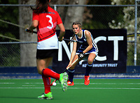 Action from the 2017 Jenny Hair Cup girls hockey match between Havelock North High School (navy blue and white) and Gisborne Girls' High School (red, white and black) at Hockey Manawatu Twin Turfs in Palmerston North, New Zealand on Wednesday, 6 September 2017. Photo: Dave Lintott / lintottphoto.co.nz