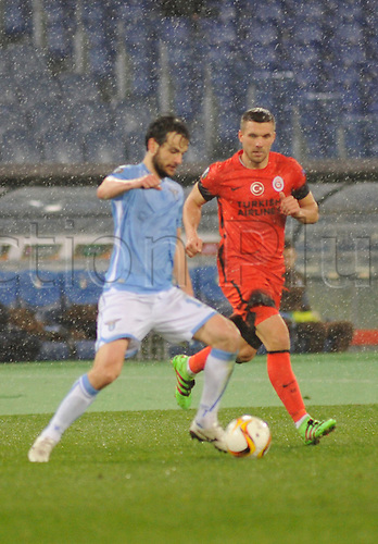 25.02.2016. Stadio Olimpico, Rome, Italy. Uefa Europa League, Return leg of SS Lazio versus Galatasaray. Marco Parolo and Lukas Podolski