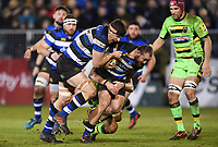 Tom Dunn of Bath Rugby takes on the Northampton Saints defence. Aviva Premiership match, between Bath Rugby and Northampton Saints on February 9, 2018 at the Recreation Ground in Bath, England. Photo by: Patrick Khachfe / Onside Images
