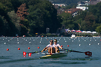 """Lucerne, SWITZERLAND, 13th July 2018, Friday, """"SUI W2X"""", Bow, """""""" and  """""""", move away from the pontoon at the start of their heat in the """"Women's Double Sculls"""", at the  FISA World Cup series, No.3, Lake Rotsee, © Peter SPURRIER/Alamy Live News"""