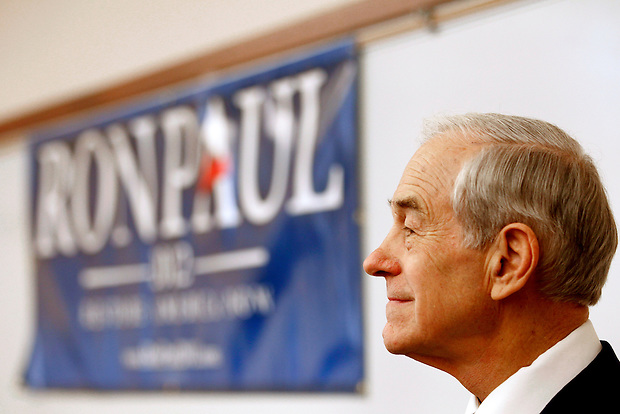 Congressman Ron Paul waits while being introduced at a campaign stop in Waverly, Iowa on Friday, December 9, 2011. (Christopher Gannon/MCT)
