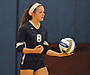 Plainview JFK No. 8 Jillian Lambert gets ready to serve during a Nassau County varsity girls' volleyball match against host Massapequa High School on Wednesday, September 9, 2015. Massapequa won 25-21, 25-14, 25-16.<br /> <br /> James Escher