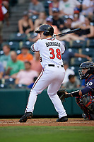 Richmond Flying Squirrels Caleb Baragar (38) at bat during an Eastern League game against the Binghamton Rumble Ponies on May 29, 2019 at The Diamond in Richmond, Virginia.  Binghamton defeated Richmond 9-5 in ten innings.  (Mike Janes/Four Seam Images)