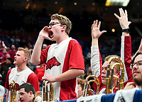 NWA Democrat-Gazette/CHARLIE KAIJO Arkansas Razorbacks band members cheer during the Southeastern Conference Men's Basketball Tournament, Thursday, March 8, 2018 at Scottrade Center in St. Louis, Mo.