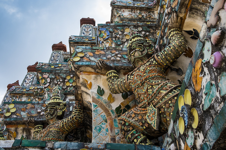 BANGKOK, THAILAND - CIRCA SEPTEMBER 2014: Detail view of Wat Arun, a  popular Buddhist temple in Bangkok Yai district of Bangkok, Thailand, on the Thonburi west bank of the Chao Phraya River