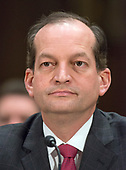 """United States Secretary of Labor Secretary Alexander Acosta testifies before the United States Senate Committee on Commerce, Science, and Transportation on """"Rebuilding Infrastructure in America: Administration Perspectives"""" on Capitol Hill in Washington, DC on Wednesday, March 14, 2018.<br /> Credit: Ron Sachs / CNP"""