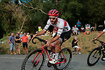 Julien Bernard (FRA) Trek-Segafredo leads the bunch during the Criterium Castillon La Bataille 2019 the first criterium after the Tour de France held around Ville de Castillon-la-Bataille, France. 6th August 2019.<br /> Picture: Colin Flockton | Cyclefile<br /> All photos usage must carry mandatory copyright credit (© Cyclefile | Colin Flockton)