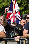 © Joel Goodman - 07973 332324 . No syndication permitted . 26/08/2013 . Bolton , UK . The English Defence League hold a demonstration in Farnworth Park , Bolton , today (26th August 2013) . Photo credit : Joel Goodman