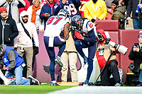 Landover, MD - November 18, 2018: Houston Texans wide receiver DeAndre Hopkins (10) and Houston Texans wide receiver Demaryius Thomas (87) celebrate a touchdown together during first half action of game between the Houston Texans and the Washington Redskins at FedEx Field in Landover, MD. (Photo by Phillip Peters/Media Images International)