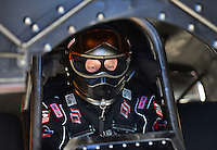 Oct. 27, 2012; Las Vegas, NV, USA: NHRA funny car driver Paul Lee during qualifying for the Big O Tires Nationals at The Strip in Las Vegas. Mandatory Credit: Mark J. Rebilas-