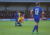 Luke O'Nien of Wycombe Wanderers is brought down by Egli Kaja of AFC Wimbledon during the Sky Bet League 2 match between AFC Wimbledon and Wycombe Wanderers at the Cherry Red Records Stadium, Kingston, England on 21 November 2015. Photo by Alan  Stanford/PRiME.