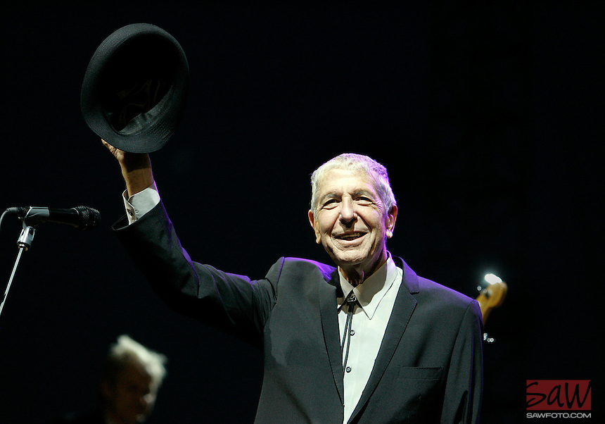 COACHELLA,CA - APRIL17,2009: Leonard Cohen greets thecheering crowd before performance Friday, April 17, 2009, at the Coachella Valley Music and Arts Festival. The event, which begins its 10th yeartoday, is one of the nation's preeminent music festivals.