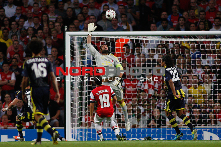 LONDON, ENGLAND - August 27: Fernerbache's Volkan Demirel in action during the UEFA Champions League Qualification round match between Arsenal from England and Fenerbahce from Turkey played at The Emirates Stadium, on August 27, 2013 in London, England.   Foto © nph / Mitchell Gunn *** Local Caption ***