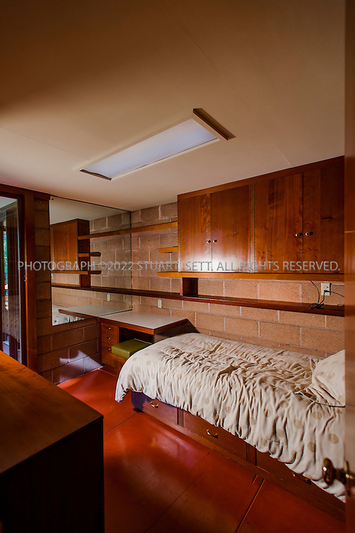 "10/9/2012--Sammamish, WA, USA..VIEW: Interior showing one of the childrens' rooms..Architect Frank Lloyd Wright planned his ""Usonian"" homes to be affordable for middle-class families. The 1,9500 square foot Brandes home is for sale in Sammamish, Washington (30 minutes from Seattle) at $1.39 million. It features three bedrooms, two bathrooms and a small, separate office/study space...The home was built in 1952, and has redwood trim and Wright's original furniture and some garden sculptures by Wright. It's one of only three Frank Lloyd Wright homes near Seattle...©2012 Stuart Isett. All rights reserved."