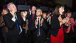© Joel Goodman - 07973 332324 . 24/09/2013 . Brighton , UK . Tessa Jowell , Ed Balls , Hilary Benn , and Sadiq Khan applaud after Ed Miliband delivers the Leader's Speech to the Labour Party conference , this afternoon (24th September 2013) . Day 3 of the Labour Party Conference in Brighton . Photo credit : Joel Goodman