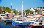 Boats along the waterfront on the island of Hvar, Croatia.
