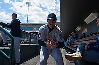 Wisconsin Timber Rattlers manager Matt Erickson (8) shows his excitement before a Midwest League game against the Great Lakes Loons at Dow Diamond on May 4, 2019 in Midland, Michigan. Great Lakes defeated Wisconsin 5-1. (Zachary Lucy/Four Seam Images)