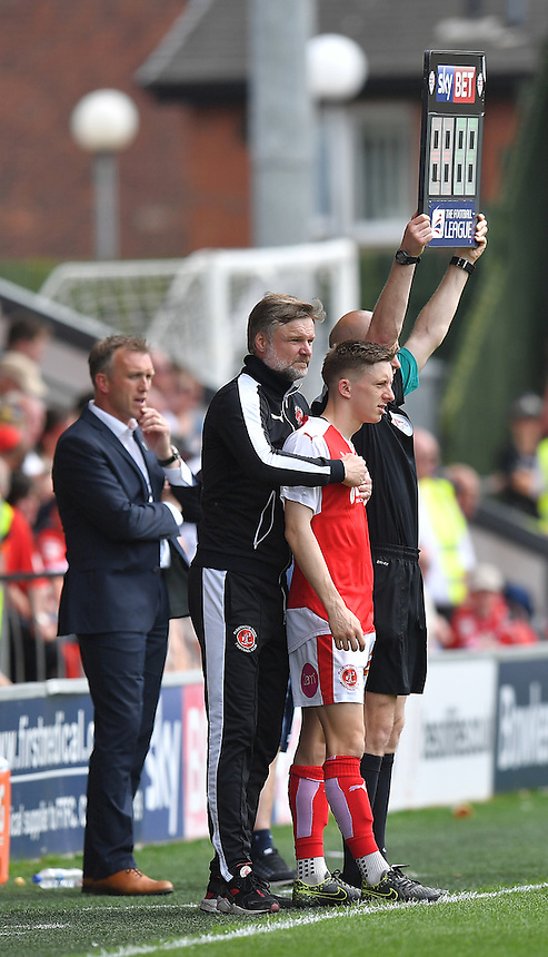 Fleetwood Town's Manager Steven Pressley cuddles Ashley Hunter before he enters the field of play<br /> <br /> Photographer Dave Howarth/CameraSport<br /> <br /> Football - The Football League Sky Bet League One - Fleetwood Town v Crewe Alexandra - Sunday 8th May 2016 - Highbury Stadium - Fleetwood    <br /> <br /> &copy; CameraSport - 43 Linden Ave. Countesthorpe. Leicester. England. LE8 5PG - Tel: +44 (0) 116 277 4147 - admin@camerasport.com - www.camerasport.com