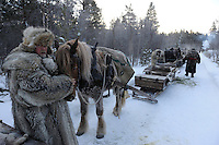 dovrefjell national park , norway, february,.roros market  since 1854 , exhibitors and vendors come from a long way off, travelling by horse and sleigh. minus 35°c