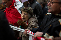 """Lidia Menapace (Antifascist Partizan. Member of the Partigiani: the Italian Resistance during WWII).<br /> <br /> Macerata (Marche, Italy), 10/02/2018. Today, tens of thousands of people (30,000 for the organisers, 10,000 for the police forces) marched peacefully in Macerata – and in several other cities across Italy – to protest and fight against a revival of neo-fascist sentiment (with the ongoing electoral campaign for the 4th of March Italian General Election mainly based on the so-called """"Migrant Crisis""""), against racism, to show support and solidarity with the 6 African migrants wounded - Mahamadou Toure, Jennifer Otioto, Gideon Azeke, Wilson Kofi, Festus Omagbon, Omar Fadera – on the 3rd February 2018 by the far-right gunman Luca Traini. Initially, the protest was banned by the Mayor of Macerata supported by the Secretary of State (Ministro degli Interni) Marco Minniti due to risk of """"disorders and clashes"""", but at the end protesters and institutions agreed to go ahead with the march set up on the road which surrounds Macerata's city centre. From an online article of """"The Guardian"""" (http://bit.ly/2nXgR8I): . <br /> <br /> For more information please click here: http://bit.ly/2EAbTsP  <br /> <br /> For a video of the event by RAI TG3 please click here: http://bit.ly/2EfZNBD"""