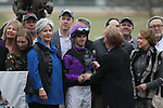February 17, 2020: Jockey Florent Geroux in the winners circle after winning the Razorback Handicap at Oaklawn Racing Casino Resort in Hot Springs, Arkansas on February 17, 2020. Justin Manning/Eclipse Sportswire/CSM