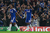 Willian of Chelsea points to the skies after scoring the opener during the UEFA Champions League match between Chelsea and Maccabi Tel Aviv at Stamford Bridge, London, England on 16 September 2015. Photo by Andy Rowland.