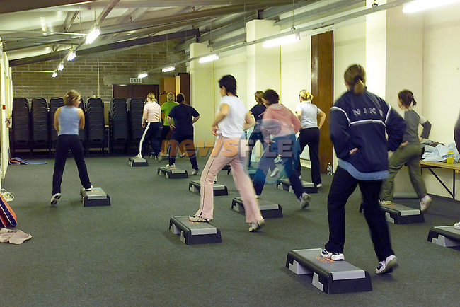 Step Aerobics 1..Picture Fran Caffrey Newsfile...This Picture is sent to you by:..Newsfile Ltd.The View, Millmount Abbey, Drogheda, Co Louth, Ireland..Tel: +353419871240.Fax: +353419871260.GSM: +353862500958.ISDN: +353419871010.email: pictures@newsfile.ie.www.newsfile.ie