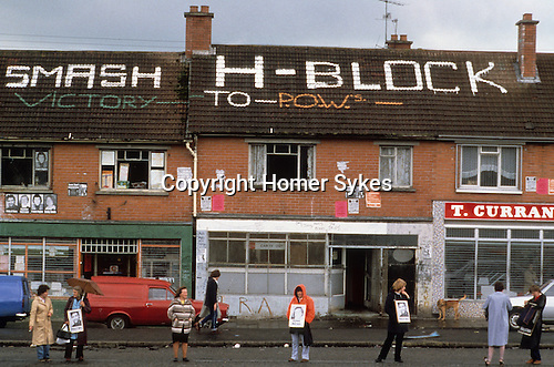 Hunger strike White Line Protest for the H block demonstration Belfast Northern  Ireland 1981