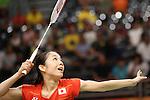 Misaki Matsutomo (JPN),<br /> AUGUST 15, 2016 - Badminton : <br /> Women's Doubles Quarter-final<br /> at Riocentro - Pavilion 3<br /> during the Rio 2016 Olympic Games in Rio de Janeiro, Brazil. <br /> (Photo by Koji Aoki/AFLO SPORT)