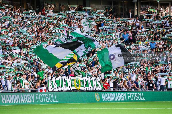 Stockholm 2014-05-24 Fotboll Superettan Hammarby IF - Varbergs BoIS FC  :  <br /> Hammarbys supportrar med flaggor och halsdukar <br /> (Foto: Kenta J&ouml;nsson) Nyckelord:  Superettan Tele2 Arena HIF Bajen Varberg BoIS supporter fans publik supporters