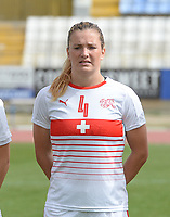 20180305 - LARNACA , CYPRUS : Swiss Rachel Rinast pictured during a women's soccer game between Switzerland and Wales , on monday 5 March 2018 at GSZ Stadium in Larnaca , Cyprus . This is the third game in group A for Switzerland and Wales during the Cyprus Womens Cup , a prestigious women soccer tournament as a preparation on the World Cup 2019 qualification duels. PHOTO SPORTPIX.BE   DAVID CATRY
