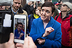 © Joel Goodman - 07973 332324. 24/03/2018. Birmingham, UK. For Britain party leader ANNE-MARIE WATERS speaks to media at a Football Lads Alliance demonstration against Islam and extremism in Birmingham City Centre . Offshoot group, The True Democratic Football Lads Alliance, also hold a separate demonstration . Photo credit : Joel Goodman