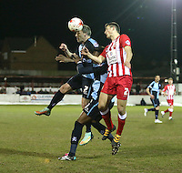 Garry Thompson of Wycombe Wanderers and Matty Pearson of Accrington Stanley <br /> during the Sky Bet League 2 match between Accrington Stanley and Wycombe Wanderers at the Wham Stadium, Accrington, England on 16 March 2016. Photo by Tony (KIPAX) Greenwood / PRiME Media Images.