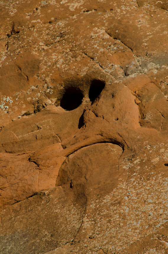 Face in Sandstone near Tunnel Arch, Arches National Park, Utah, US