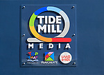 Close up of sign Tide Mill Media company, Marine House, Woodbridge, Suffolk, England, UK