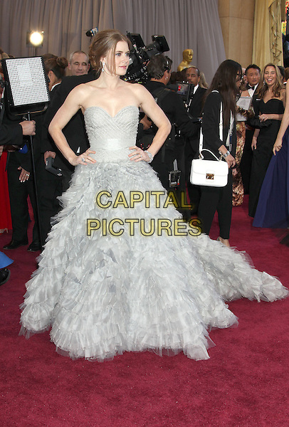 Amy Adams (wearing Oscar de la Renta).85th Annual Academy Awards held at the Dolby Theatre at Hollywood & Highland Center, Hollywood, California, USA..February 24th, 2013.oscars full length dress gown powdery blue fluffy layers layered feathery tulle train strapless hands on hips.CAP/ADM/RE.©Russ Elliot/AdMedia/Capital Pictures.