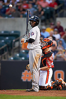 Tri-City ValleyCats designated hitter Hector Roa (16) at bat during a game against the Aberdeen Ironbirds on August 6, 2015 at Ripken Stadium in Aberdeen, Maryland.  Tri-City defeated Aberdeen 5-0 in a combined no-hitter.  (Mike Janes/Four Seam Images)