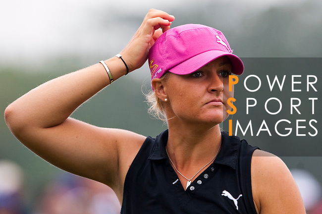 TAOYUAN, TAIWAN - OCTOBER 21: Anna Nordqvist of Sweden reacts on the 9th tee during day two of the LPGA Imperial Springs Taiwan Championship at Sunrise Golf Course on October 21, 2011 in Taoyuan, Taiwan. (Photo by Victor Fraile/Getty Images)