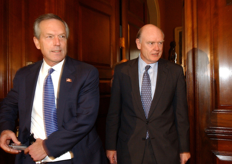 taxbill02/052303 -  Secretary of Commerce Donald Evans, left, and Secretary of the Treasury John Snow arrive at a news confernce in the Capitol, after final passage of the Jobs and Growth Tax Relief Reconciliation Act of 2003.