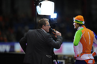 SCHAATSEN: HEERENVEEN: Thialf, Essent ISU World Cup, 02-03-2012, interview door Jan van der Meulen (SportConnection), Hein Otterspeer (NED), ©foto: Martin de Jong