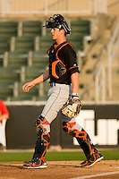 Catcher Michael Ohlman #19 of the Delmarva Shorebirds on defense against the Kannapolis Intimidators at Fieldcrest Cannon Stadium May 12, 2010, in Kannapolis, North Carolina.  Photo by Brian Westerholt / Four Seam Images