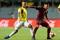 RANCAGUA - CHILE, 07-02-2019:  Jesus Vargas de Venezuela disputa el balón con Jaime Alvaradode Colombia durante partido por la fecha 4 dela fase final del Sudamericano Masculino Sub 20 Chile 2019 jugado en el estadio El Teniente de Rancagua en Rancagua, Chile. / Jesus Vargas de Venezuela fights for the ball with Jaime Alvarado of Colombia during match for the date 4 of final phase of South American Men U-20 Chile 2019 played at El Teniente de Rancagua stadium in Rancagua, Chile. Photo: VizzorImage / Osvaldo Villarroel / Cont / XpressMedia