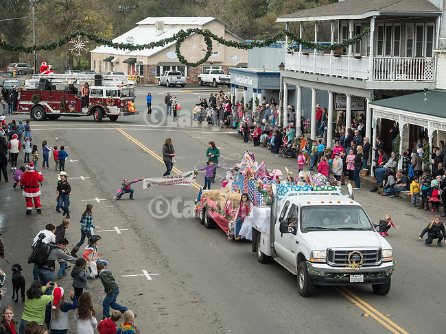 A Cowboy Christmas, Annual Christmas Parade sponsored by IBCA on Main Street in downtown Ione, Amador County, Calif.