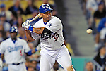 22 July 2011: Los Angeles Dodgers infielder Juan Rivera in action against the Washington Nationals at Dodger Stadium in Los Angeles, California. The Nationals defeated the Dodgers 7-2 in their first meeting of the 2011 season. Mandatory Credit: Ed Wolfstein Photo