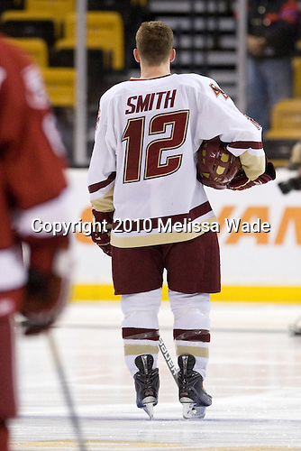 Ben Smith (BC - 12) - The Boston College Eagles defeated the Harvard University Crimson 6-0 on Monday, February 1, 2010, in the first round of the 2010 Beanpot at the TD Garden in Boston, Massachusetts.
