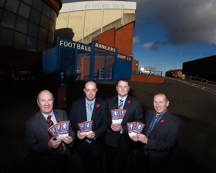 Ian Davidson MP, Gordon Dinnie and Andy Sheppard from the Rangers Supporters Trust and Paul Goodwin from Supporters Direct Scotland outside Ibrox Stadium this morning for the launch of the Buy Rangers Campaign encouraging supporters to join together to buy a combined stake in the club.