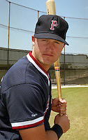 Boston Red Sox Greg Blosser wearing a Pawtucket hat during Spring Training circa 1992.  (MJA/Four Seam Images)