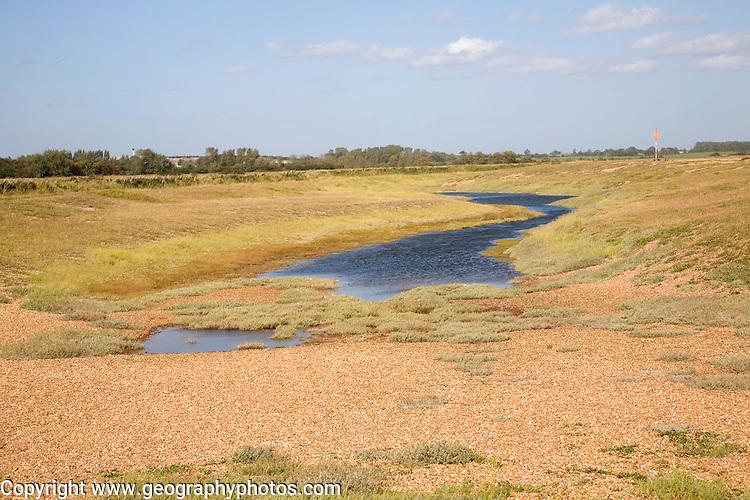 Lagoon lake in slack of shingle dune ridges, Shingle Street, Suffolk, England